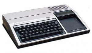 "The TI-99/4A. Note the prominent port for ""Solid State Software"" to the right of the keyboard."