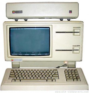 The Apple Lisa. Not the two Twiggy drives to the right. The 5 MB hard drive sits on top.