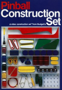 The original Pinball Construction Set box art, featuring pieces of the pinball machine that Budge disassembled to plan the program