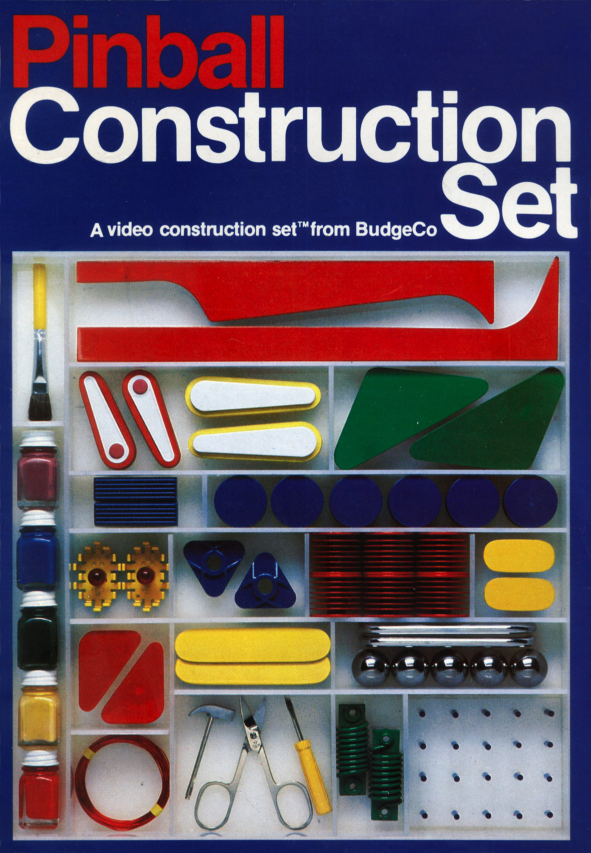 Pinball construction set - The Original Pinball Construction Set Box Art Featuring Pieces Of The Pinball Machine That Budge