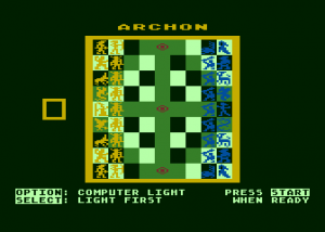 The Archon game board. Note the three power points running down the center. Two more are hidden under the wizard and sorceress on the center-left and center-right squares.