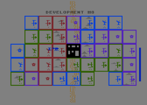 Leading a M.U.L.E. from the village at the center of the game board for placement in an empty plot (denoted by the house symbol) at far left.