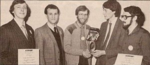 Contest winner Peter Voke stands third from left; runner-up Colin Bignell first from left.