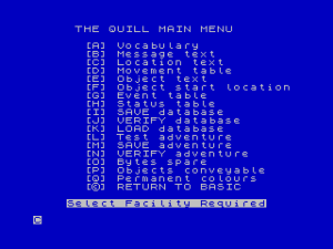 The Quill's menu system, where thousands of adventure authors spent thousands of hours