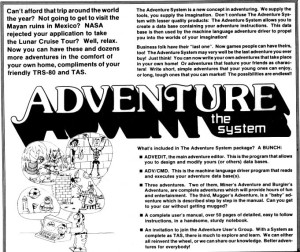 The Adventure System as advertised in the March 1982 80 Microcomputing