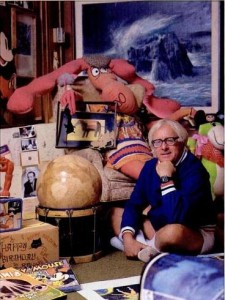 Ray Bradbury with his toys