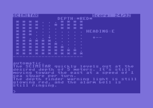 The Commodore 64 version of Seastalker showing the split-screen sonar view