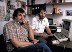 Douglas Adams and Steve Meretzky, February 1984, with the first Mac Adams ever saw