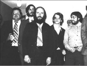 Michael Scott, Steve Jobs, Jef Raskin, Chris Espinosa, and Steve Wozniak circa 1977
