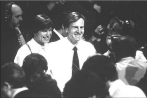 Steve Jobs and John Sculley at the Mac's public introduction on January 24, 1984.