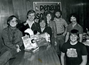 Inside Penguin Software, circa early 1983. From left: Mary Beth Pelczarski, Mark and Trish Glenn, Cheryl and Mark Pelczarski, Ron Schmitt, and (kneeling) Larry Weber.