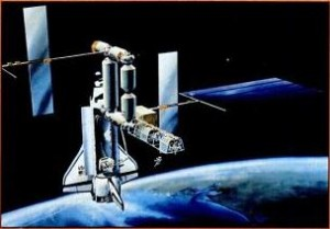 A proposed NASA space station with shuttle docked