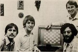 The Fantastic Four, 1980: from left, Bob Whitehead, David Crane, Larry Kaplan, and Alan Miller (standing)