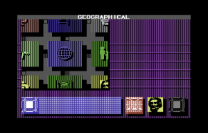 Portal on the Commodore 64. Each of the icons to the left represents a database to be explored.