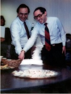 Activision, as embodied by Jim Levy (left), weds Infocom, as embodied by Joel Berez (right).