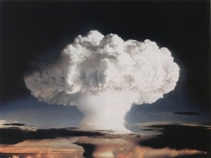 The world's first hydrogen bomb explodes on November 1, 1952.