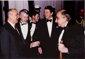 Edward Teller (right) with Mikhail Gorbachev and Ronald Reagan