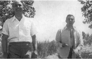 Enrico Fermi and Edward Teller hiking near Los Alamos, circa 1944.