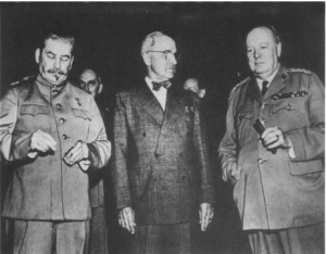 Stalin, Truman, and Churchill at Potsdam, 1945