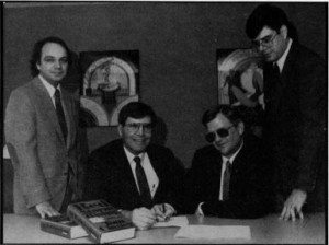 The ultimate meeting of techno-thriller minds: Sid Meier, Wild Bill Stealey, Tom Clancy, and Larry Bond (his consultant and collaborator on the Red Storm Rising scenario).