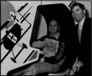 Sid Meier and Bill Stealey pose in 1988 with the actual Red Baron machine that led to the formation of Microprose. It was discovered in storage at the MGM Grand and purchased by Microprose.