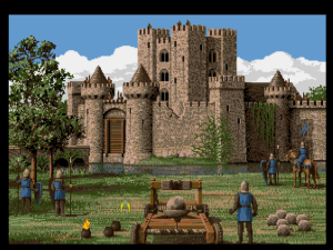 Laying seige to a castle. The Greek fire lying to the left of the catapault can't be used. It was cut from the game but not the graphics, only to be added back in in later ports.