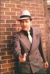 Doug Sharp dressed as a gangster for a King of Chicago promotional shoot.