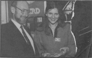 "This photograph of Clive Sinclair and Anita Sinclair was used for a captioning contest by Sinclair User. ""Juvenile sexist comments might sniggered over in the office but won't be printed and won't win and that's that,"" they announced. Good to know they're fighting the good fight."