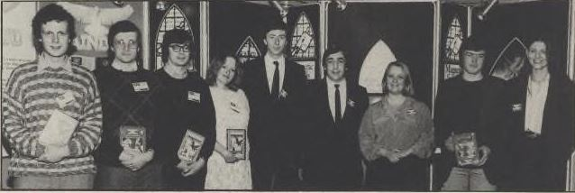 The leading lights of British adventure gaming assemble under the Rainbird banner. From left: Mike, Peter, Nick, and Margaret Austin (Level 9); Mike Clarke, Tony Rainbird, and Paula Byrne (Rainbird); Ken Gordon and Anita Sinclair (Magnetic Scrolls).