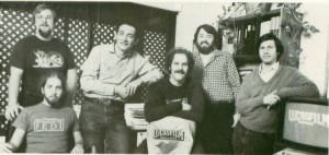 Most of the Lucasfilm Games Group, mid-1984: Charlie Kellner, David Levine, Peter Langston, David Fox, Loren Carpenter (visiting from Graphics), Gary Winnick