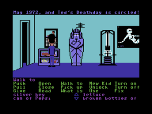 "On the job in Maniac Mansion. Note the selectable list of verbs (including the immortal ""New Kid"") and the character's inventory below."