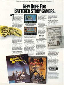 "Lucasfilm Games's Maniac Mansion advertisements took aim at ""most story game designers"" who ""seem to think people love to get clobbered."" Here's looking at you, Sierra."