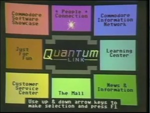 QuantumLink's point-and-click main menu.