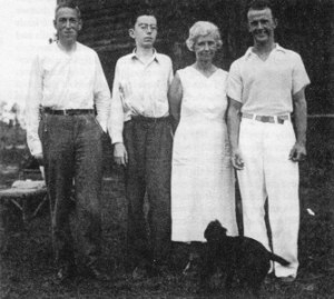 H.P. Lovecraft, left, with the young Robert Barlow and family in Florida, 1935.