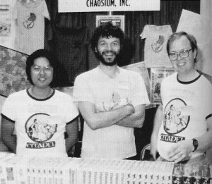 Greg Stafford (center) and Sandy Petersen (right), with Tadashi Ahara, editor of Chaosium's in-house magazine Different Worlds.
