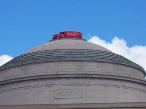 A fire engine perches on the Great Dome.