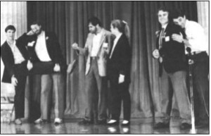 Steve Meretzky (second from left) and Dave Lebling (second from right) ham it up with Second City.