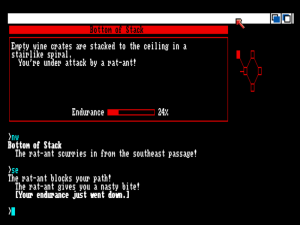 Battling a rat-ant (say, is that a Starcross reference?) in Beyond Zork.