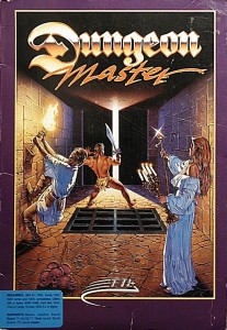 "David Darrow's Dungeon Master cover art became one of the most iconic of the 1980s. It was painted from photographics he took in his studio, with his wife playing the candelabra-holding spellcaster, Andy Jaros the thiefy character pulling on the torch, and a ""really huge guy"" from a local gym the barbarian fighter. It wasn't necessary to find a model for the fourth member of this party, whose bones lie neatly stacked at front left."