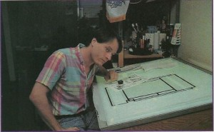Andy Jaros at his drafting table making art for Dungeon Master.