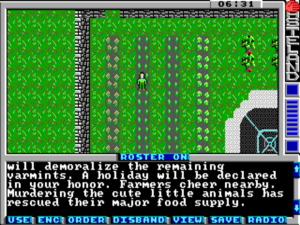 You explore the world of Wasteland from a top-down perspective rather than the first-person view of The Bard's Tale. This screenshot and the ones that follow come from the slightly later MS-DOS port rather than the 8-bit original.