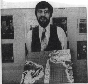 Joel poses in 1982 with Pursuit of the Graf Spee, the only SSI game he designed and programmed himself -- albeit by cribbing liberally from Computer Bismark. Selling just 2082, it wasn't a big success.