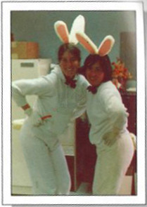 "SSI employees Tena Lawry and Connie Barron boogie down as the ""Simulated Bunnies"" because... well, just because."