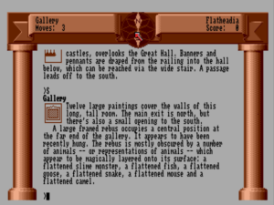 Zork Zero uses graphics more often to present the look of an illuminated manuscript than for traditional illustrations.