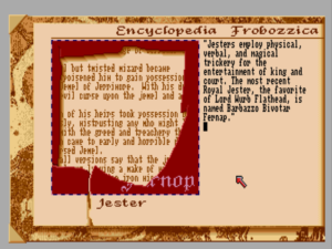 The in-game Encyclopedia Frobozzica is a nice if somewhat underused feature. The encyclopedia could have provided nudges for some more of the more obscure puzzles and maybe even some direction as to what to be working on next. Instead that work is all shuffled off to the hint system.