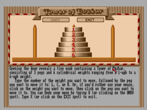 A Tower of Hanoi puzzle, one of the hoariest of Zork Zero's tired old chestnuts.