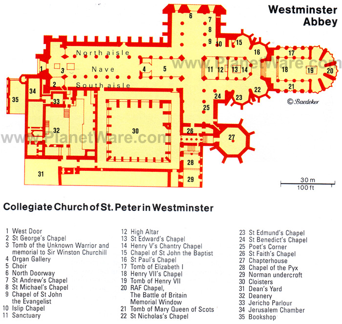 This map of the real Westminster Abbey matches up very well with...
