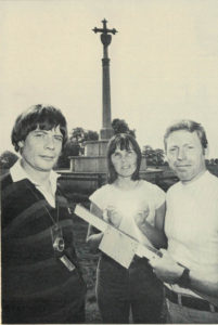 John Rousseau with (Mike's wife) Celia Barker and Mike Barker at Ampthill Park with Mike's homemade inclinometer.