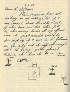 """Ken Thomas""'s original letter to Kit Williams, with its rough (and incorrect) depiction of the hare's position in relation to the Ampthill Park memorial. Although the letter is dated February 5, it wasn't posted until February 17 -- just one more of the unanswered questions surrounding the whole affair."