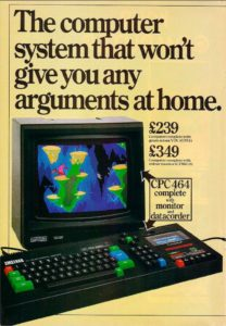 Ever practical in their approach to technology, Amstrad made much of the CPC's bundled monitor in their advertising, noting that with the CPC Junior could play on the computer while the rest of the family watched television.